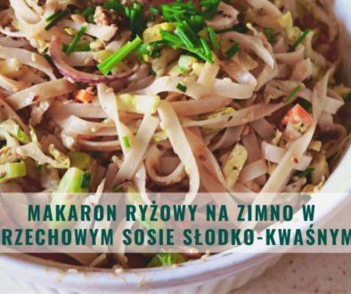 makaron ryżowy na zimno w fistaszkowym sosie słodko-kwaśnym